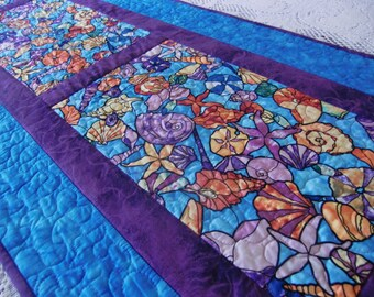 Quilted Beach Table Runner, Sea Shells Table Topper, Summer Home décor, Ocean quilt, Turquoise and Purple, Housewarming, Handmade in Hawaii