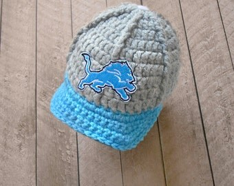 Newborn boy hats, baby boys newborn hat, Detroit Lions hat, boy baby hat, hat baby boy, newborn girl, newborn hat, boy baby newborn infant