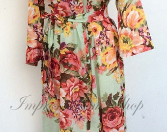 Ankle length Floral maternity robe for delivery, Any  Color Any  Size, pregnancy and labor feeding child birth, wrap around robe lounge wear