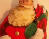 Vintage Santa, soft sculpture, stuffed santa,red green,small pillow,Christmas deor , santa claus