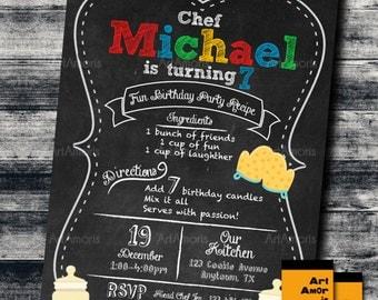 Baking Invitation, Birthday Invitation, Cooking Invitation, Little Chef Invitation, Chalkboard Bake Shop Invitation, Cookie Decorating R-16