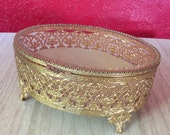 Vintage Ornate Filigree Footed Box with Glass Lid