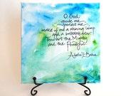 Baha'i Prayer for Children   Watercolor Art   Handwritten Print   Table Art