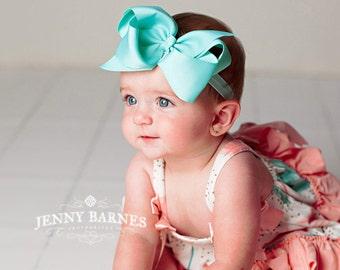 PICK ANY large bow headband, baby headband, ribbon bow, newborn headband, newborn photo prop, Bow headbands