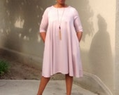 Ponte Knit Three Quater Sleeeve Swing Dress~Pink Scoop Neck Swing Dress~Side Seam Pockets~Ponte Knit Trapeze Dress~All Sizes / 6 Colors