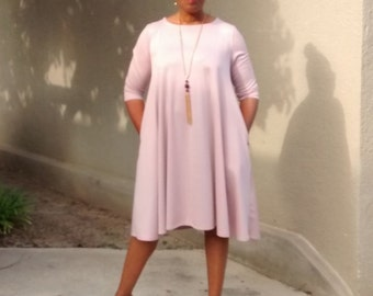 Ponte Knit Three Quarter Sleeve Swing Dress~Pink Crew Neck Swing Dress~Side Seam Pockets~Ponte Knit Trapeze Dress~All Sizes / 6 Colors