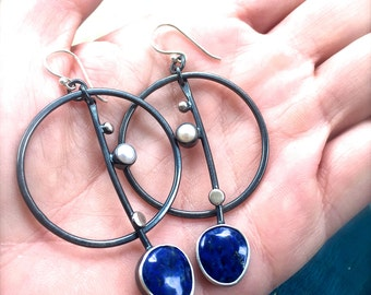Reserved for Diji Lapis and Pearl Full Moon Boho Earrings - Dangle Earrings - Hoop Earrings - Stone Earrings - Gypsy Earrings