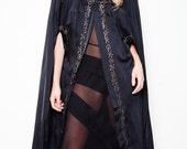 CLEARANCE SALE was 400 now 150 epic VINTAGE full sweep tafetta metallic foil embroidered cape opera coat
