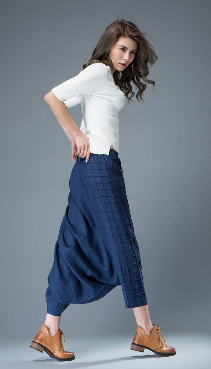 Blue Linen Pants Women Loose Pants C829