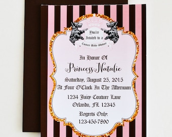 5X7 Juicy Couture Invitation -You Print- Juicy Couture Invitation | Juicy Couture Party | Juicy Couture Birthday | Juicy Couture Baby Shower