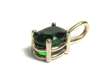 14k White Gold Green Chrome Diopside Pendant - Oval Green Pendant - REDUCED # 1911