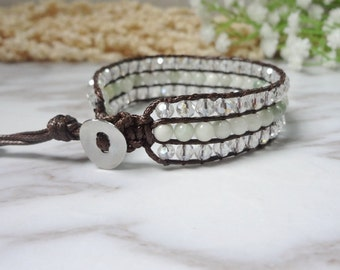 Single Wrap Bracelet Handcrafted 3 lines Green White Leather Beads Jewelry