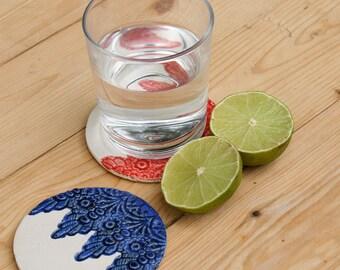 Lace Detail Ceramic Coaster