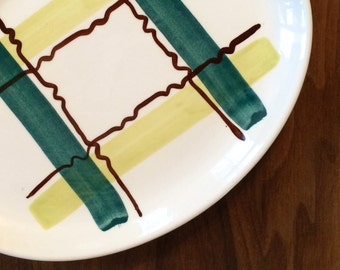 Vintage Mid Century Modern PLAID STETSON ceramic platter