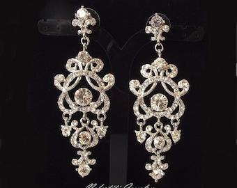 crystal wedding earrings, chandelier bridal earrings, vintage wedding chandelier earrings, rhinestone bridal earings, bridal jewelry