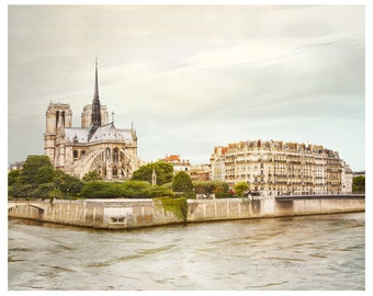 Notre Dame Paris photography, Pastel landscape print, large wall art, Paris large poster, City art print, 11x14, 12x16, 24x30, 30x40 photo