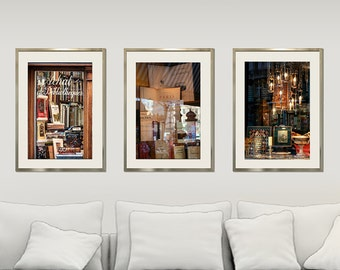 Set of 3 prints, books photography, chandelier print, Paris prints, shop window decor, large wall art set of three, 24x36, 20x30, Triptych