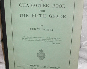 Vintage 1930s Schoolbook A Character Book for the Fifth Grade