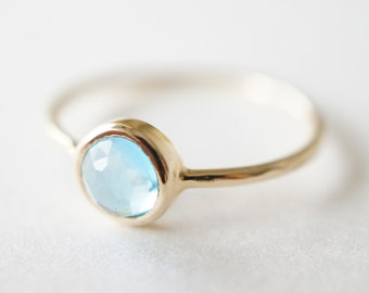 10K Solid Yellow Gold Swiss Blue Topaz bezel setting ring- FREE Shipping- made to order- 3 weeks- modern minimalist jewelry