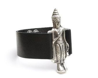 Standing Buddha Leather Bracelet