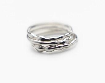 Water Wave Dainty Rings Set, Fidget Ring, Simple Rings, Stacking Rings Silver, Minimalist Rings, Stacking Rings Set, Silver Rings - 3 pcs