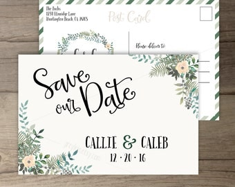 Woodsy Wedding Save the Date Postcard • Winter Leafy Wreath • Floral Leaves Invitations • printable