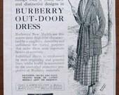 Burberry, 1918, vintage, ad, original, outdoor-dress, dress, gown, women, fashion, English, advertisement, free shipping, paper, ephemera