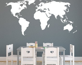 World Map without Antartica Vinyl Wall Decal (many sizes to pick from) K628