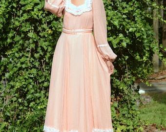 vintage 1970s peach gunne sax maxi dress