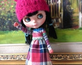 red and blue plaid skirt with a knitting top dress for blythe and similar sized dolls