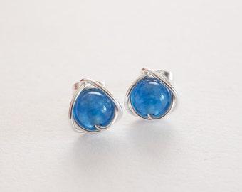 Blue Quartz Stud Earrings, Blue Earrings, Blue Studs, Gifts For Her