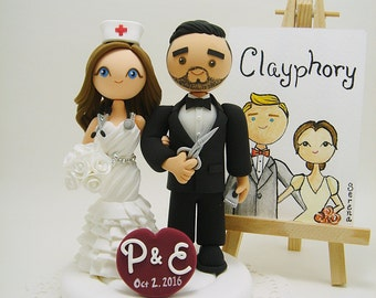 Barber and Nurse Custom wedding cake topper