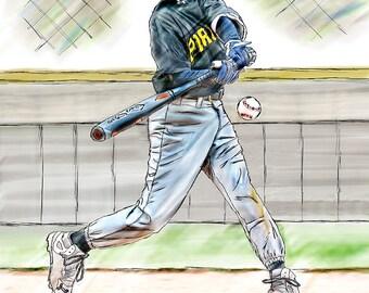 Little League Baseball Watercolor Fine Art Print
