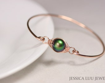 Rose Gold Green Pearl Bangle Bracelet Wire Wrapped Jewelry Rose Gold Bracelet Rose Gold Jewelry Rose Gold Bangle  Green Pearl Bracelet