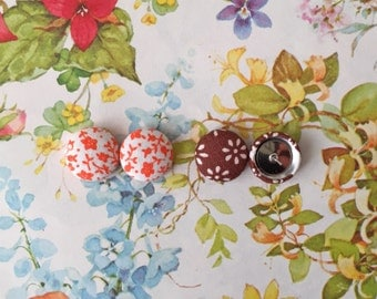 Stud Earrings / 2 Pairs / Fabric Covered Button Earrings / Orange and Brown / Wholesale Jewelry / Small Gifts / Handmade Earrings