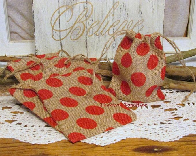 Red Polka Dot Burlap Gift Bags, Handmade Burlap Bags, Rustic Favor Bags, Burlap Christmas Bags, 5 Handmade Rustic Bags, Teacher Gift Bags