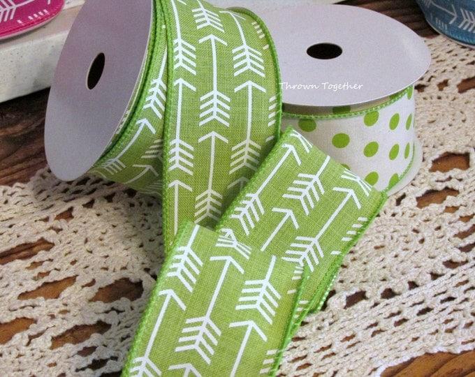 "Green White Arrow Print Ribbon, 2 1/2"" Wired Ribbon 5yds, Green White Ribbon, White Arrow Ribbon, Wired Wreath Ribbon, 2.5inch Craft Ribbon"