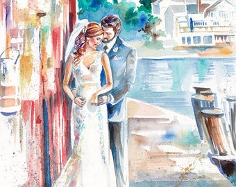 Paper Anniversary Gift--Wedding Portrait Art--Custom Wedding Painting for Personalized Anniversary Gifts by Kristin Glaze van Lieshout