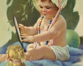 "Little Girl's Room Print, Baby Girl and Puppy, Gazing into Mirror, ""Do You See What I See"" RESTORED antique art #350"