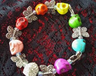 Dias de los Muertos stretch bracelet