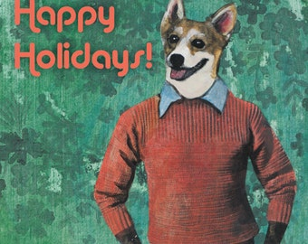 Corgi Holiday Card / Card Set | Christmas Dog Card | Dressed Up Corgi Retro Holiday Card | Unique Holiday Stationery Set | Fancy Animal Card