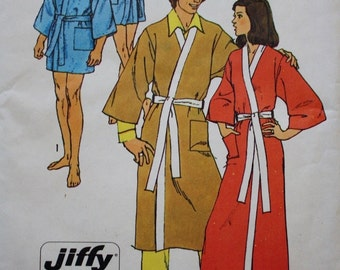 Mens Womens Robe - Vintage Sewing Pattern- Simplicity 5685 - Size 14