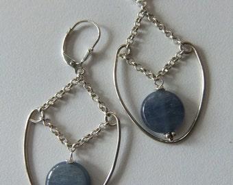 Women's Earrings Chakra Jewelry, Handmade Kyanite Sterling Silver Earrings for meditation and alignment.