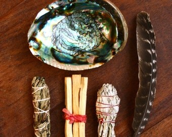 Smudge Ceremony Kit- Abalone, White Sage, Palo Santo, Yerba Santa, Turkey Feather Fan Cleansing Altar Kit Purifying Herbs New Age Ritual