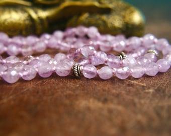 108 Mala Beads Light Amethyst Japa Mala Gemstone Prayer Beads Crown Third Eye Chakra Mala Yoga Jewelry Mantra Mala Meditation Jewelry Silver