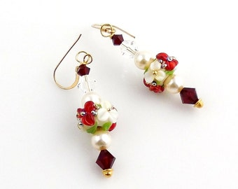 White and Red Christmas Flowers Lampwork Earrings, Holiday Jewelry, Lampwork Jewelry, Gifts, Floral Earrings