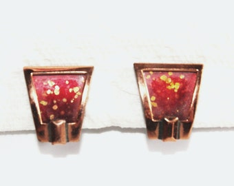 MODERNIST Vintage 1950s MATISSE Red & Gold Speckle Spatter Copper ENAMEL Clip Earrings Retro Abstract Mid Century Designer Fashion Jewelry