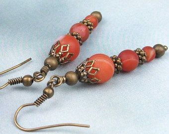Dangle Earrings, Carnelian Beads, Semi Precious Stones, Soft Orange, Antiqued Brass Beads, Rondelles, Victorian Style, Handmade, Gift, Gypsy