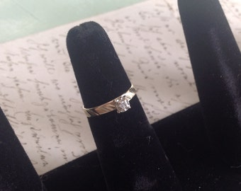 PRICED To SELL Solid 14K Yellow Gold Color G Clarity SI .06ct Diamond Solitaire Engagement Ring - Size 5.75 Etsy andersonhs