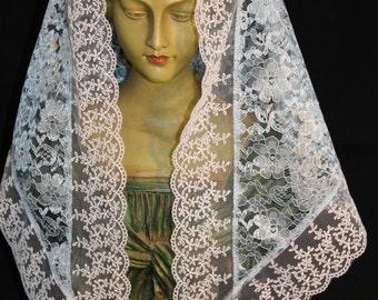 Chapel Veil / Blue Lace Mantilla / Catholic Church Veil / Traditional Mass Headcovering / Marian Blue and White Church Veil / The Mary Veil